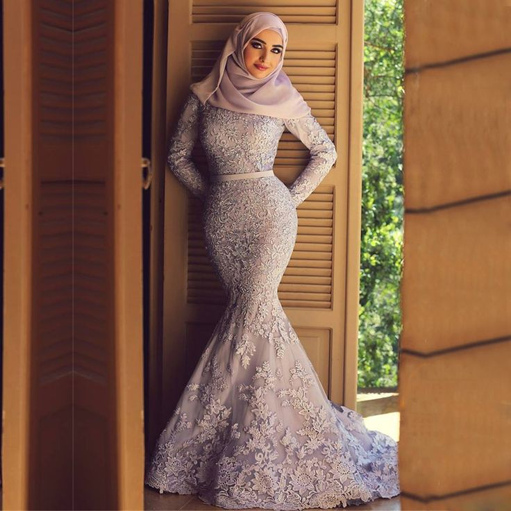 Find a Vintage Lace Purple Muslim Wedding Dresses Mermaid Beaded Lace Long Sleeve Colorful Wedding Dress Hijab Best Bridal Gowns Online Shop For U !