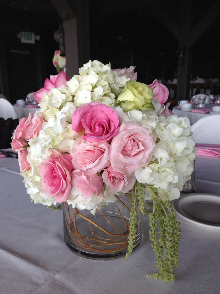 Pink & White low centerpiece | Wedding centerpiece ideas ...