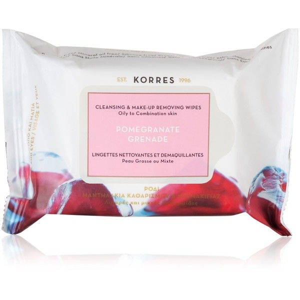 Korres Pomegranate Cleansing & Make-up Removing Wipes found on Polyvore featuring beauty products, skincare, face care, makeup remover, no color, korres and oil free makeup remover