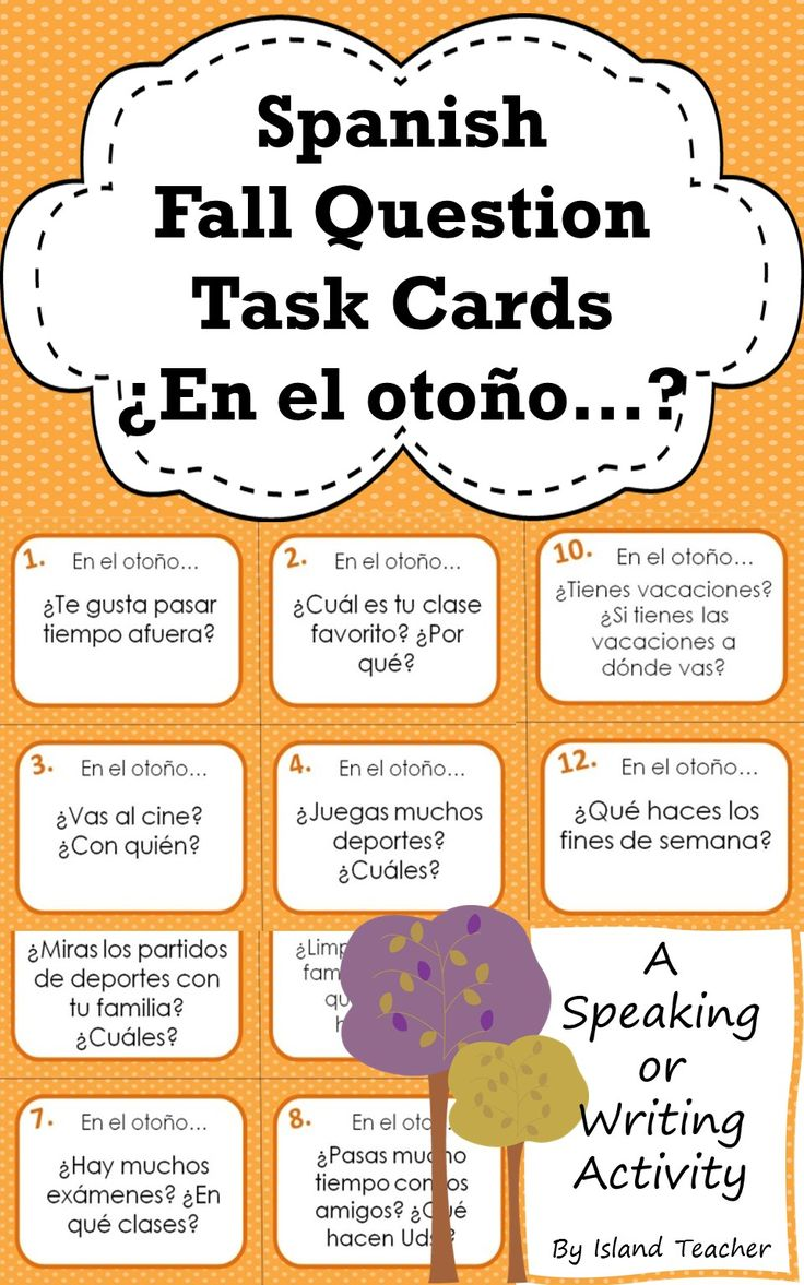 Get students speaking or writing about the season. Use for stations, games, warm-ups or partner activities. Suggestions for classroom use included.