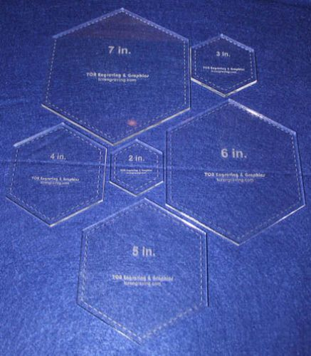 Laser cut quilt templates 6 piece hexagon clear acrylic for Hexagon quilt template plastic