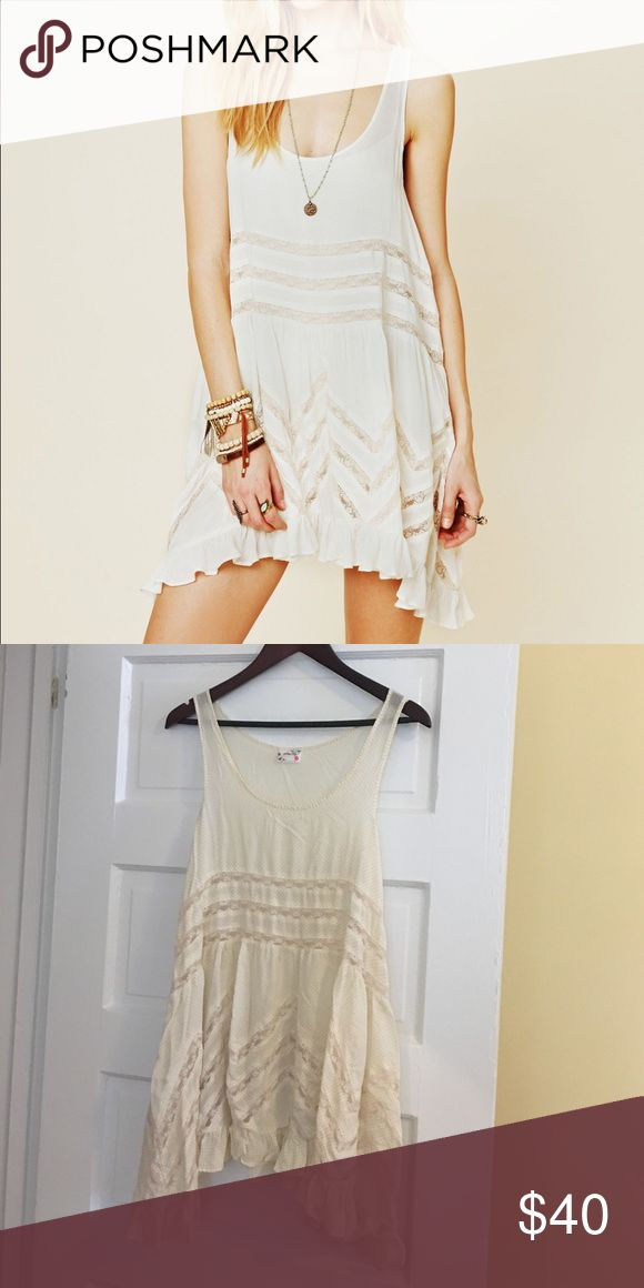 Free People Voile and Trapeze Slip Cream colored intimately slip dress. Perfect bikini cover up or over cut offs. Free People Dresses