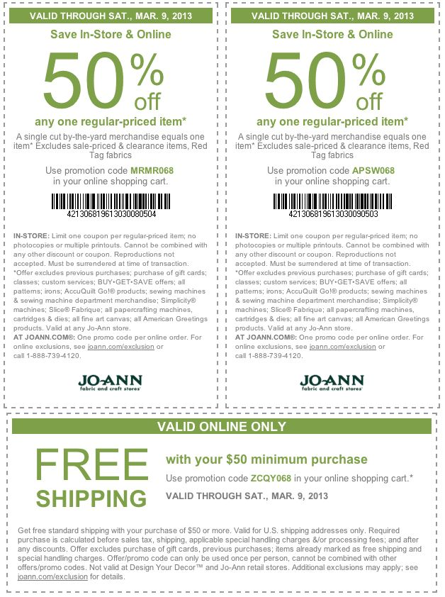 50 off a single item at JoAnn Fabric, or online via