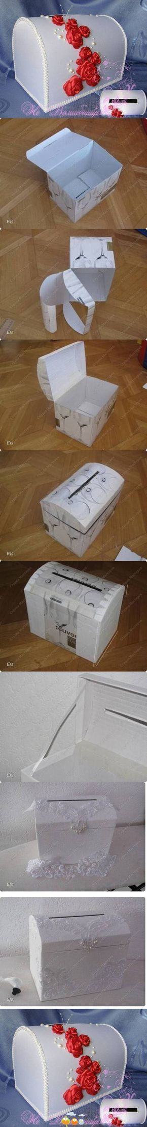 Great visual tutorial to re-purpose a box into a gift holder for a wedding.  This box can also be turned into a treasure chest for little pirates or a jewelry box for little princesses!  Endless possibilities for this project!
