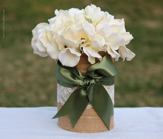 Tin Can Wedding Vase. Rustic Decor. Decorated with Burlap, Lace and Ribbon. on Etsy, $8.00