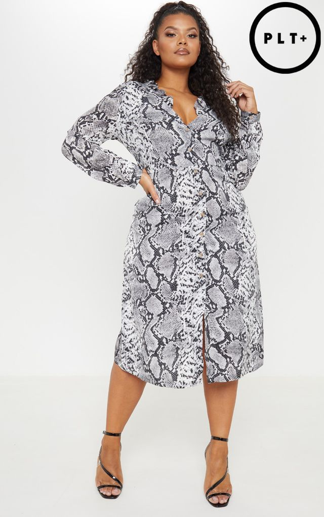 Plus Grey Snake Print Button Up Midi Dress | Plus size ...