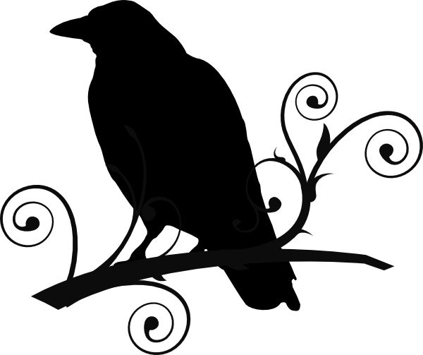 Raven+Pictures+Bird+Silhouette | Crow On Branch clip art - vector clip art online, royalty free ...