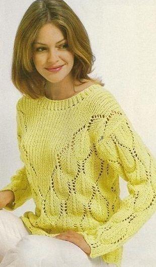 Пуловер с кокеткой спицами-описание и схема!
