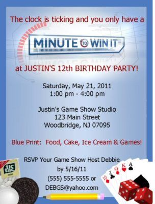 Details About Minute To Win It Invitations Birthday Party Supplies