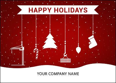 The Carpenters Ornaments Holiday Card Is Detailed With A Saw Hammer Stocking And Candy Cane In Snowy Red White Design Now For Free Upgrades