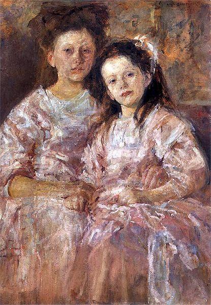 Polish Artist Olga Boznańska, Two girls, 1906 Portret Heleny i Władysławy Chmielarczykówien (Portret dziewczynek) 1906. Olej na tekturze. 126 x 84 cm. Muzeum Narodowe w Warszawie.