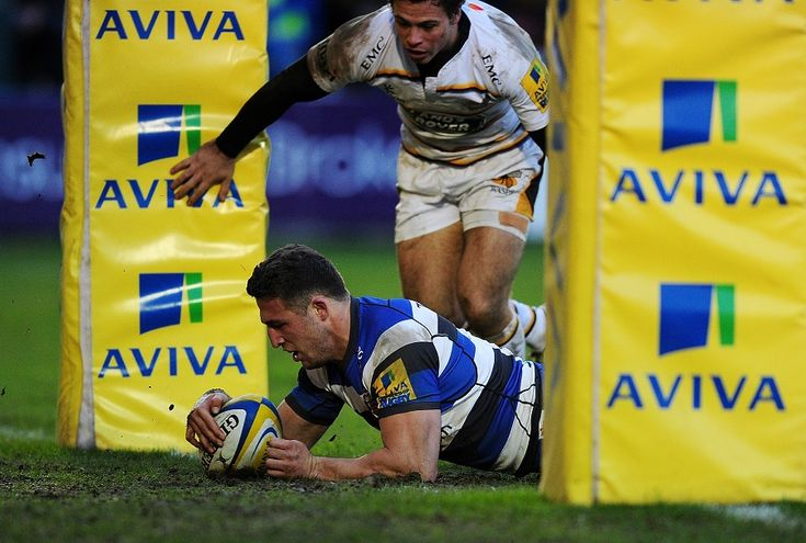 Sam Burgess crosses for his first Bath try