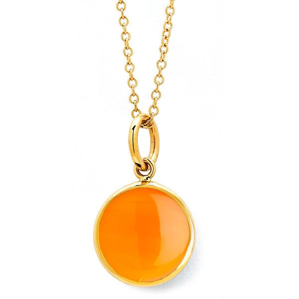18kt orange chalcedony chakra necklace by Syna (£445) ❤ liked on Polyvore featuring jewelry, necklaces, orange, long pendant necklaces, lock pendant necklace, chains jewelry, pendant necklace and orange necklace
