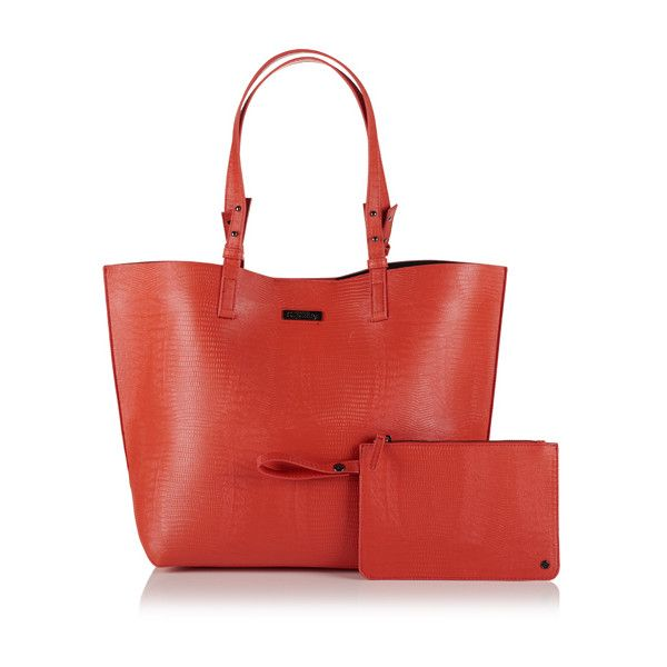 Superdry Olivia Tote Bag (€51) ❤ liked on Polyvore featuring bags, handbags, tote bags, orange, red tote handbag, tote hand bags, orange purse, red handbags and red tote