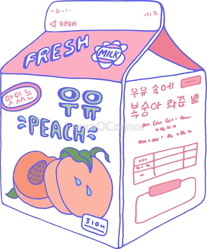 Peach Milk Carton Sticker Peach Aesthetic Milk Carton