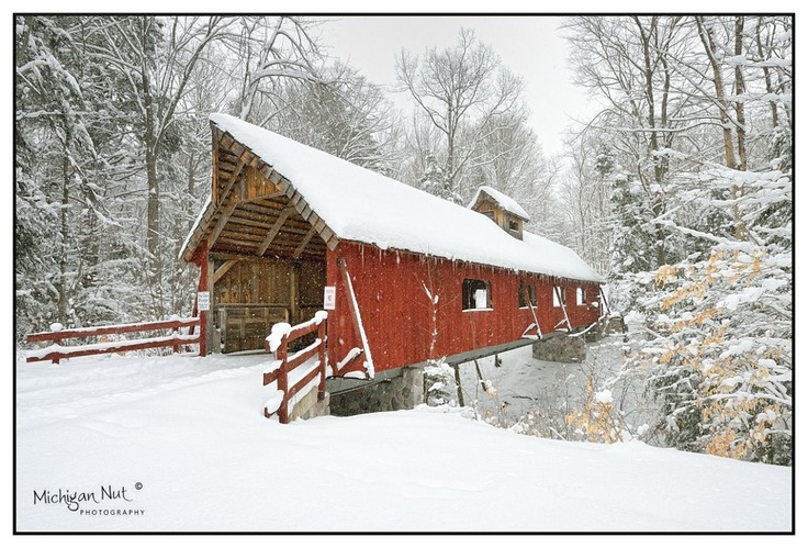 """Loon Song Covered Bridge"" ~ Joshua's Crossing near Lake Ann, Michigan. It is 90' long and 14' wide."