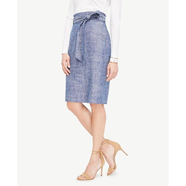 Ann Taylor Curvy Chambray Paper Bag Pencil Skirt ($89) ❤ liked on Polyvore featuring skirts, chambray linen, chambray pencil skirt, white pencil skirt, ann taylor, long skirts and white knee length pencil skirt