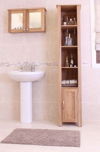 Superb Contemporary Design Made From Selected Solid Oak This Slender  Bathroom Cupboard Has Been Designed To Fit Even The Smallest Room The  Overall ...