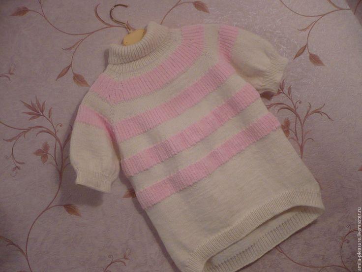 """Купить Туника """"Клубничный зефир"""" - одежда для детей, одежда для девочек, туника, свитер, белая, розовая"""