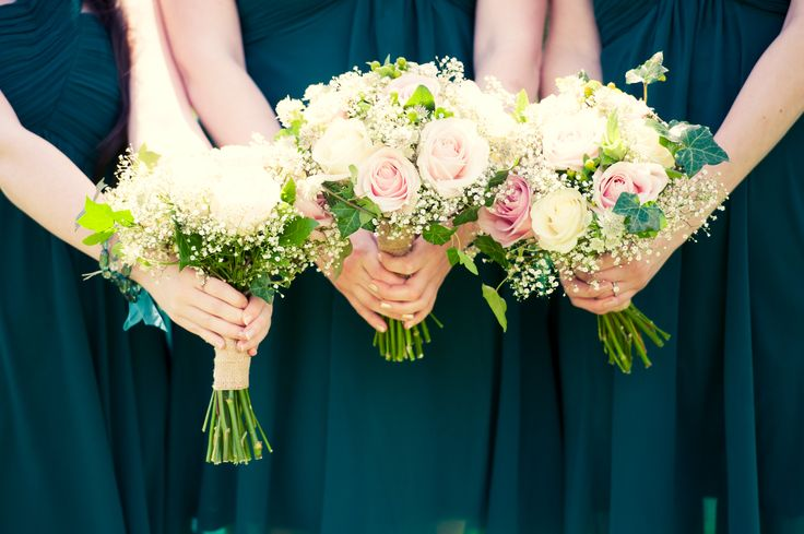 Bridesmaids' bouquets. Pink and white roses,ivy and gypsophila. Hand tied and twine wrapped. Made by http://www.lafleurfloralbridal.com/. Photo by http://www.kimfoleyphotography.com/