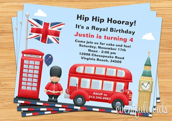 London Theme Party Invitation by eventfulcards on Etsy, $15.99
