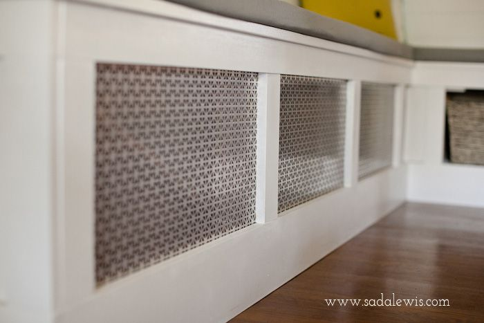 DIY Kitchen Banquette - How to Cover an Air Vent-1 - decorative aluminium panels - home depot!