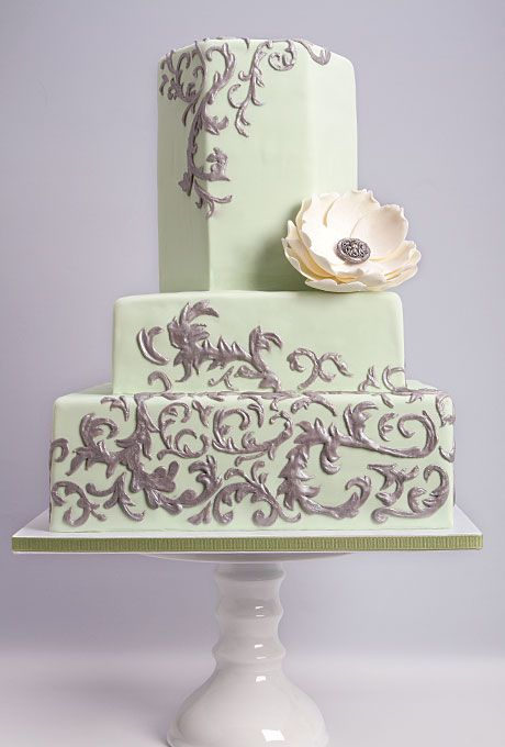 Wedding Cake Decorations | Mint Green and Silver Wedding Cake | Wedding Cakes Photos | Brides.com