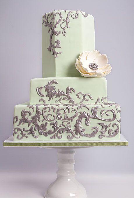Green Wedding Cake With Silver Filigree Cakes Wedding