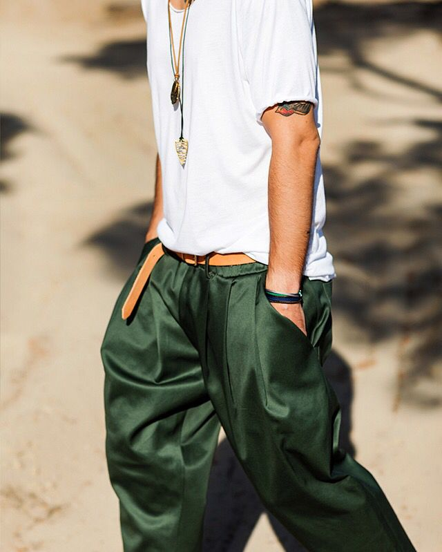 "✅""Jacopo"" green pants✅   #potd #ootd #motd #urban #urban #ss16 #ss16trends #pleated #pleats #white #green #accesories #leather #menswear #streetstyle #menstyle #menstreetstyle #dantestyle #dantemenswear #menswear #sand #sun #beach #summer #accesories #jewels #jewelry"