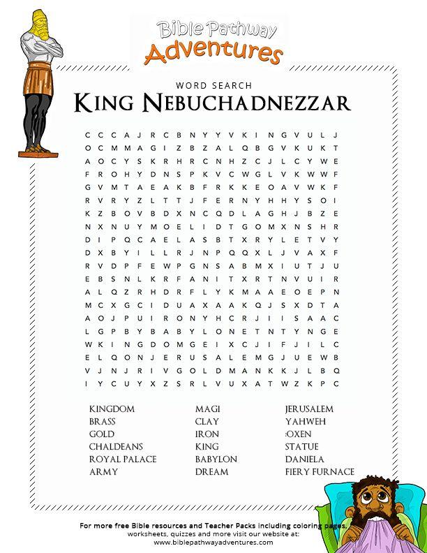 Bible Word Search King Nebuchadnezzar