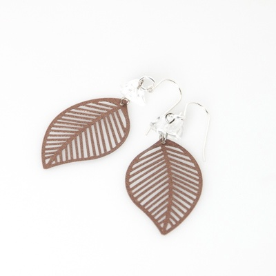 Copper leaf Earrings - blossomhandmade.co.za