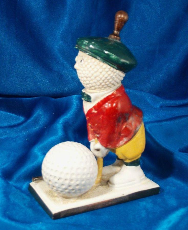 Original 1920's The Art Metal Works Golf Ball Man Lighter Ronson