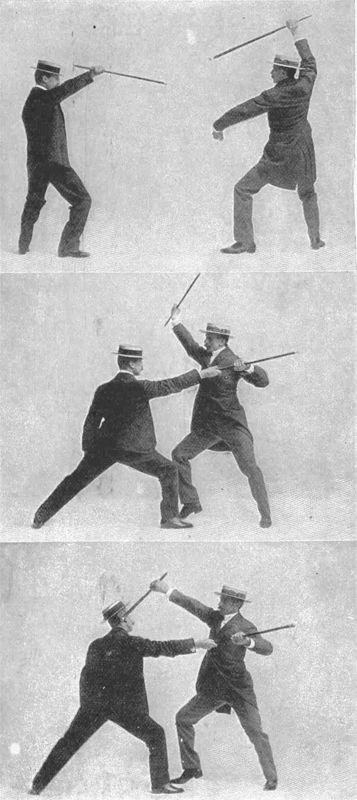 """`.Vigny Stick Fighting, utilizing a specially designed """"self defence walking stick."""""""