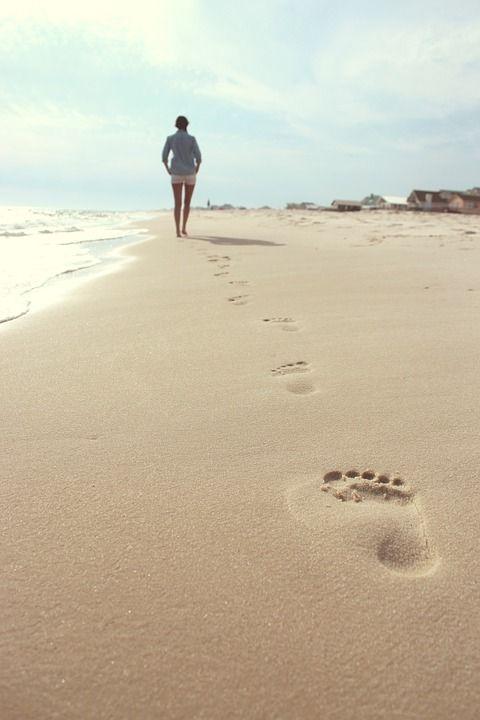 Playa, Mujer, Huellas, Verano, Mujeres, Vacaciones, Mar