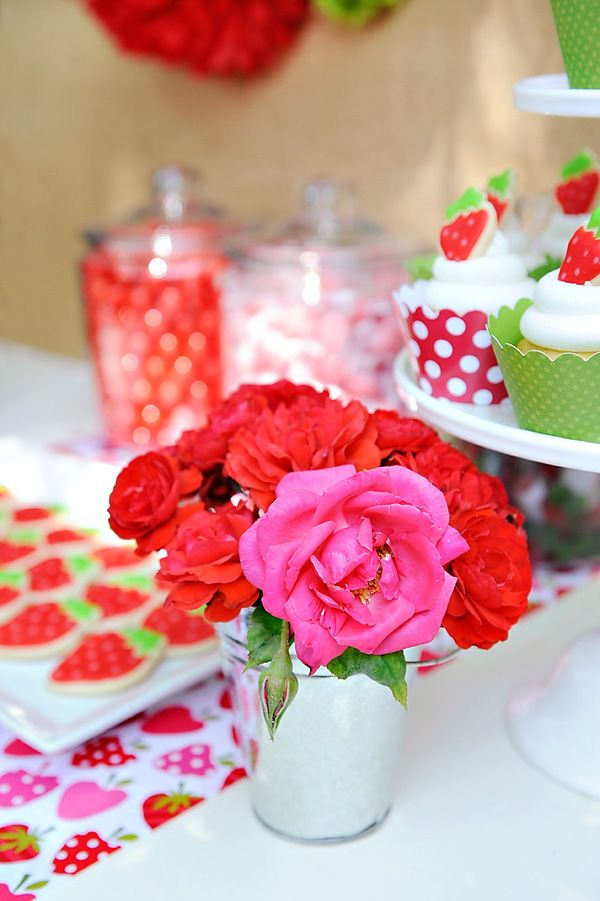 Berry Sweet Summer Strawberry Picnic Party Centrepiece