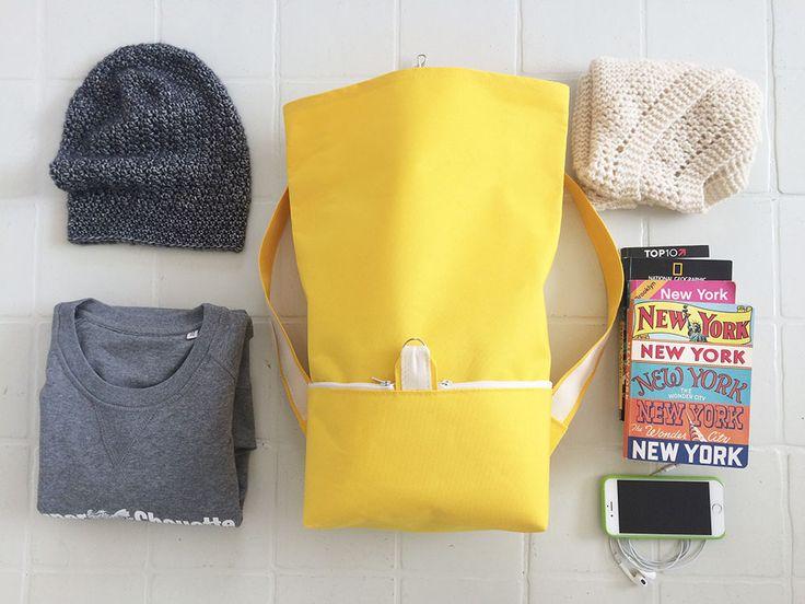 sac a dos jaune rangement