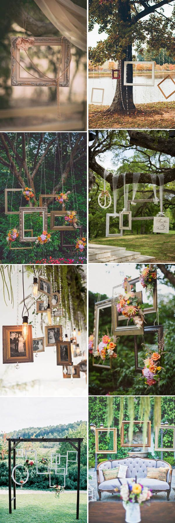 There are many creative DIY ideas for a vintage wedding. For instance, we can easily use some old and vintage  photo frames to DIY  a stylish hanging photo frames decor with pearls and flowers, vintage frame seating c...