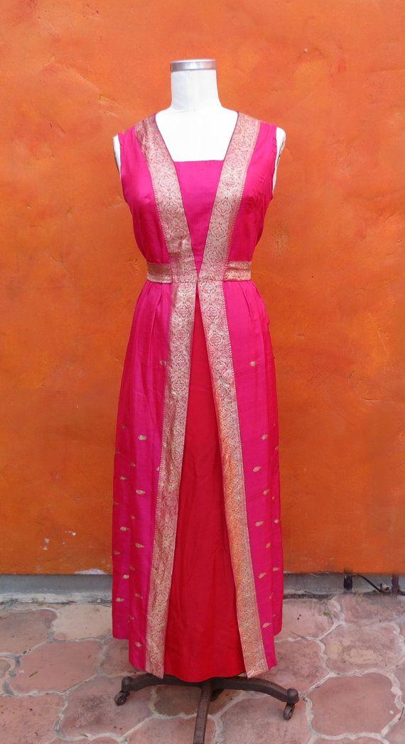 Vintage 1960s Silk Sari Maxi Wiggle Hourglass by SweetPickinsShop, $75.00