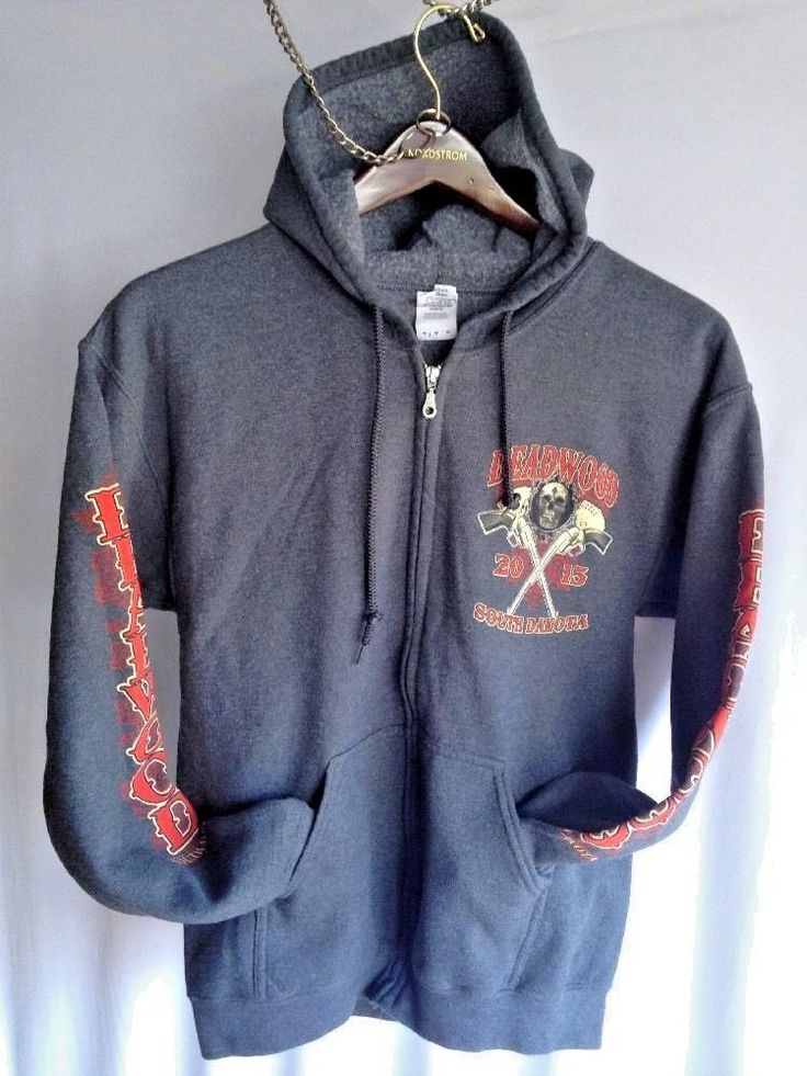 South Dakota Deadwood 2015 Sweatshirt with zipper fleece with hoodie Sturgis m #Gildan #SouthDakotaDeadwood