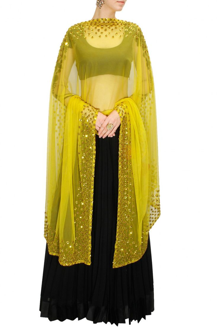 Black and bright yellow embroidered lehenga set available only at Pernia's Pop-Up Shop.