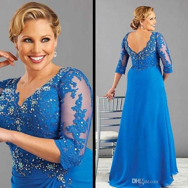 2016 Plus Size Blue Plus Size Mother Of The Bride Dress With Sleeve Chiffon Women Formal Dress Beaded Appliques Mother Dresses Evening Gowns Mother Of The Groom Dresses Canada Mother Of The Groom Dresses For Beach Wedding From Everbridal1989, $95.48| Dhgate.Com