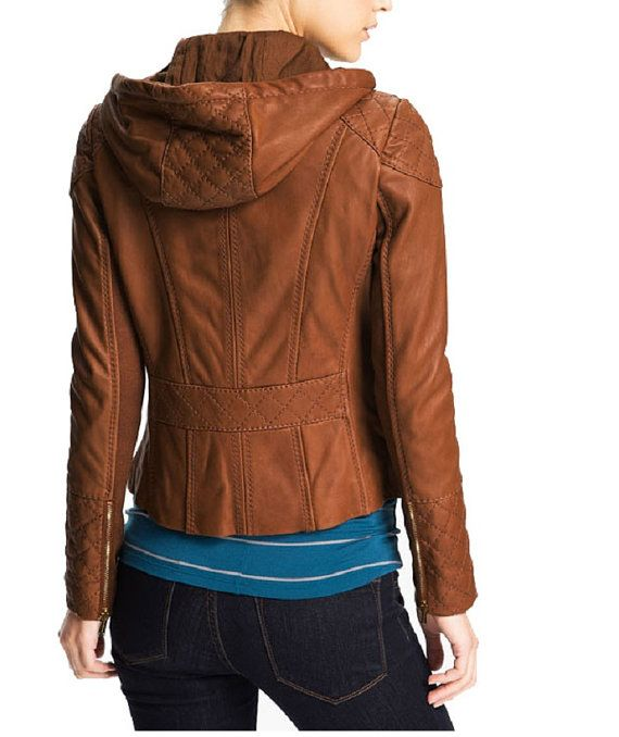 b7e4b7077268 handmade women brown Leather Jacket hoodie women by ukmerchant, $169.99 | I  would so rock it | Leather jacket with hood, Leather Jacket, Jackets