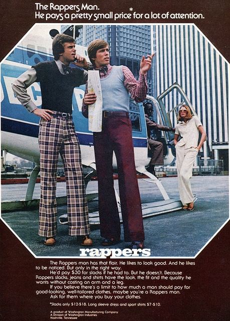 "There's a couple of nice social statements in this ad. 70s ads are rife with them. (""Rappers Clothing Advertising, Playboy September 1973"")"