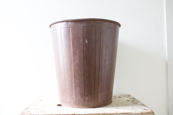 Brown Industrial Waste Basket Trash Can Garbage Container Farmhouse
