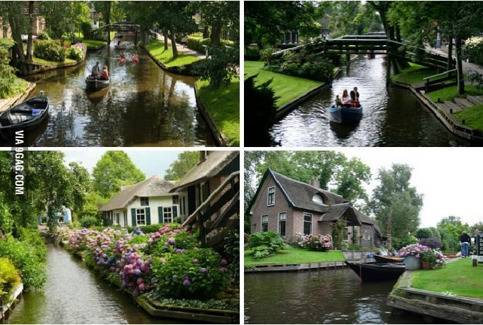 The Dutch village of Giethoorn has no roads. Its buildings are connected entirely by canals, footbridges and trails.