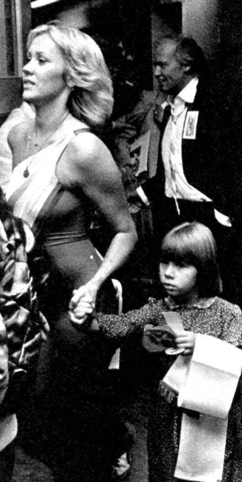 """ABBA world tour 1979 Stockholm/Sweden. Linda Ulvaeus participated in the Stockholm show together with the children choir performing """"I Have A Dream"""" together with ABBA. After the show Frida met the Swedish Queen Silvia."""