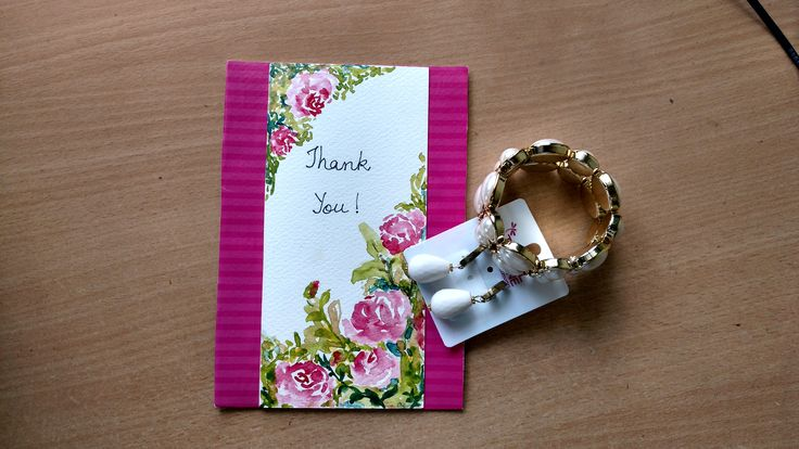 Thank You Card #floralcard #paintedcard #thankscard