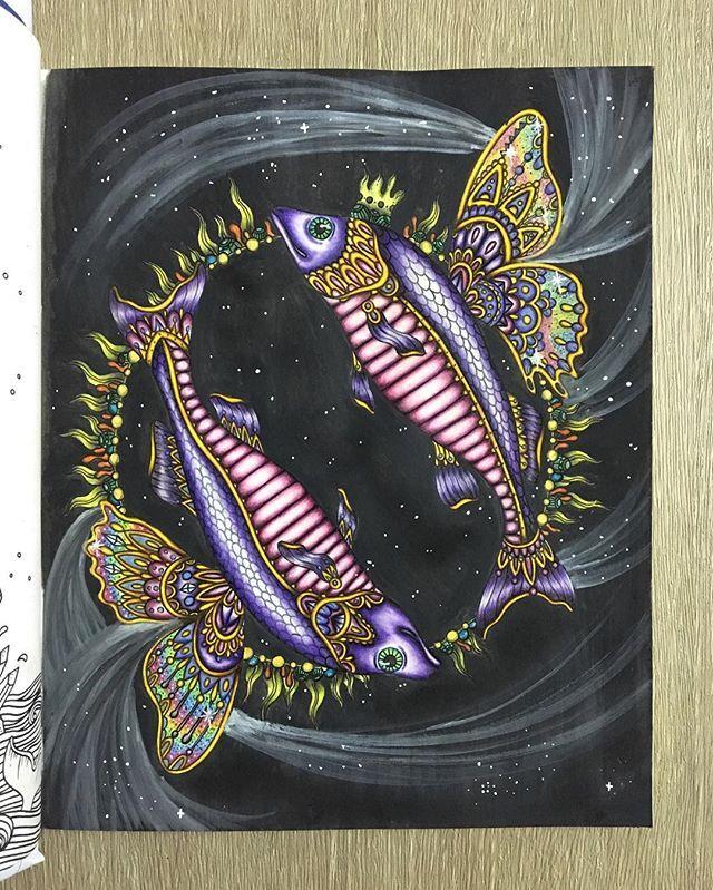 Pisces from Sommarnatt by @hannakarlzon Medium: FC poly, Derwent Inktense Block…