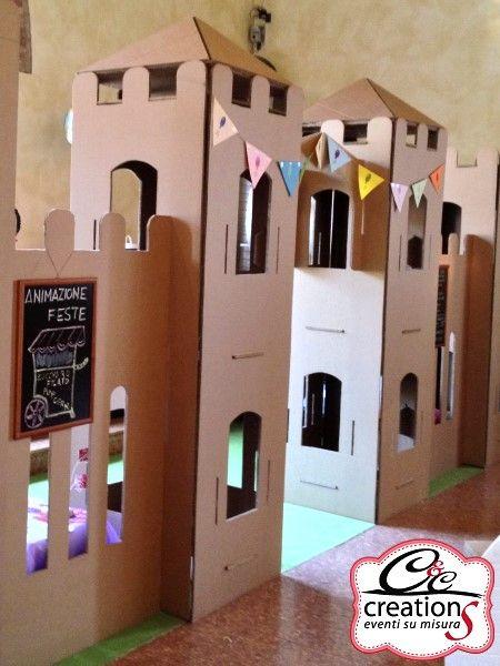 Castello componibile in cartone, noleggiabile per feste di compleanno e scenografie teatrali. Grandi sculture  e strutture in cartone, realizzate artigianalmente da C&C Creation, garantendo l'unicità del prodotto.