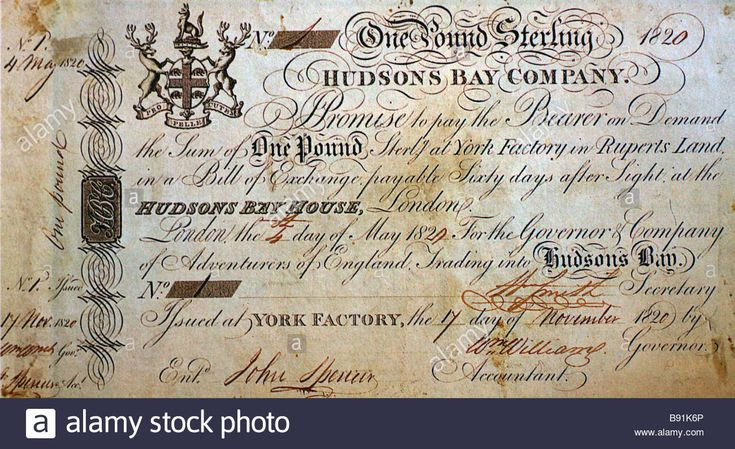 Historic one Pound Sterling note issued by the Hudsons Bay Company at York Factory on November 17, 1820 Stock Photo